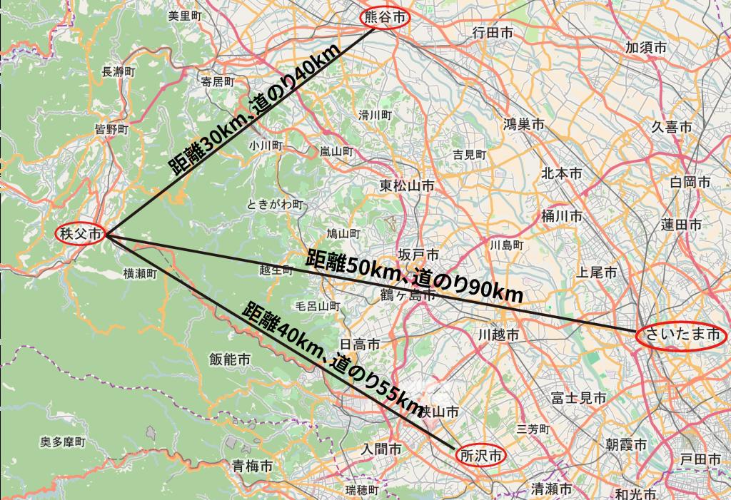 秩父市と埼玉県の隣接する圏域およびさいたま市との位置関係。