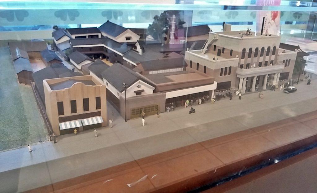 昭和28年当時の矢尾百貨店の模型。右手の立派な建物が当時の矢尾百貨店だ。