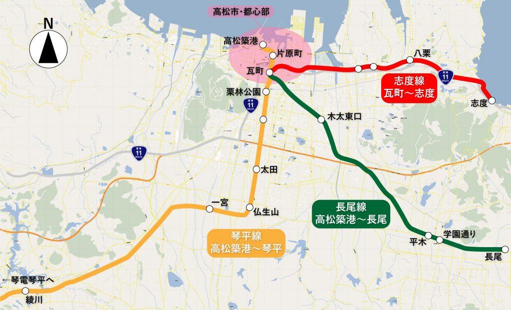 高松市付近のことでん路線図 (OpenStreetMapを元に作成) © OpenStreetMap contributors