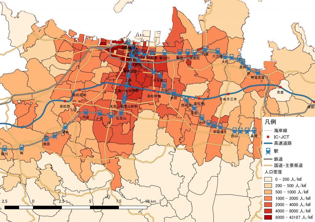 ことでん沿線の人口密度。2010年国勢調査 小地域集計を基に鳴海行人作成