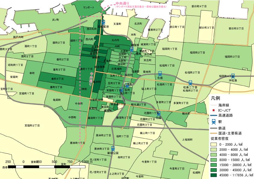 2012年経済センサス活動調査 町丁・大字別集計 を基に鳴海行人作成