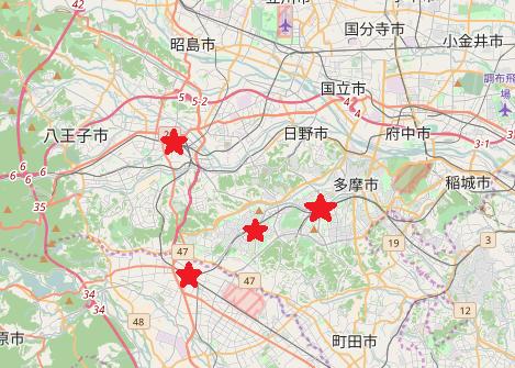 右下、町田あたりにそごうがあれば魔方陣が完成するのでは……? (OpenStreetMapを元に作成) © OpenStreetMap contributors
