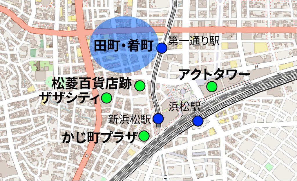 浜松中心街の地図