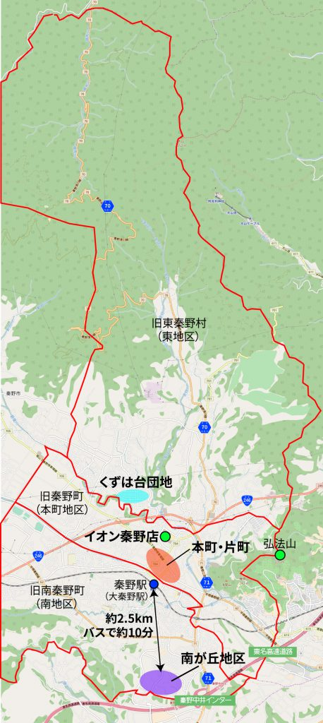 秦野市中央部の地図