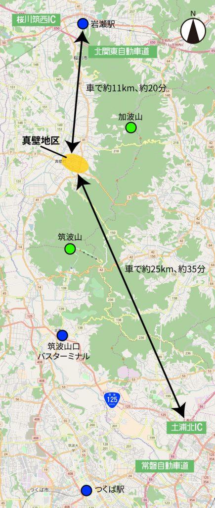 桜川市真壁地区周辺地図