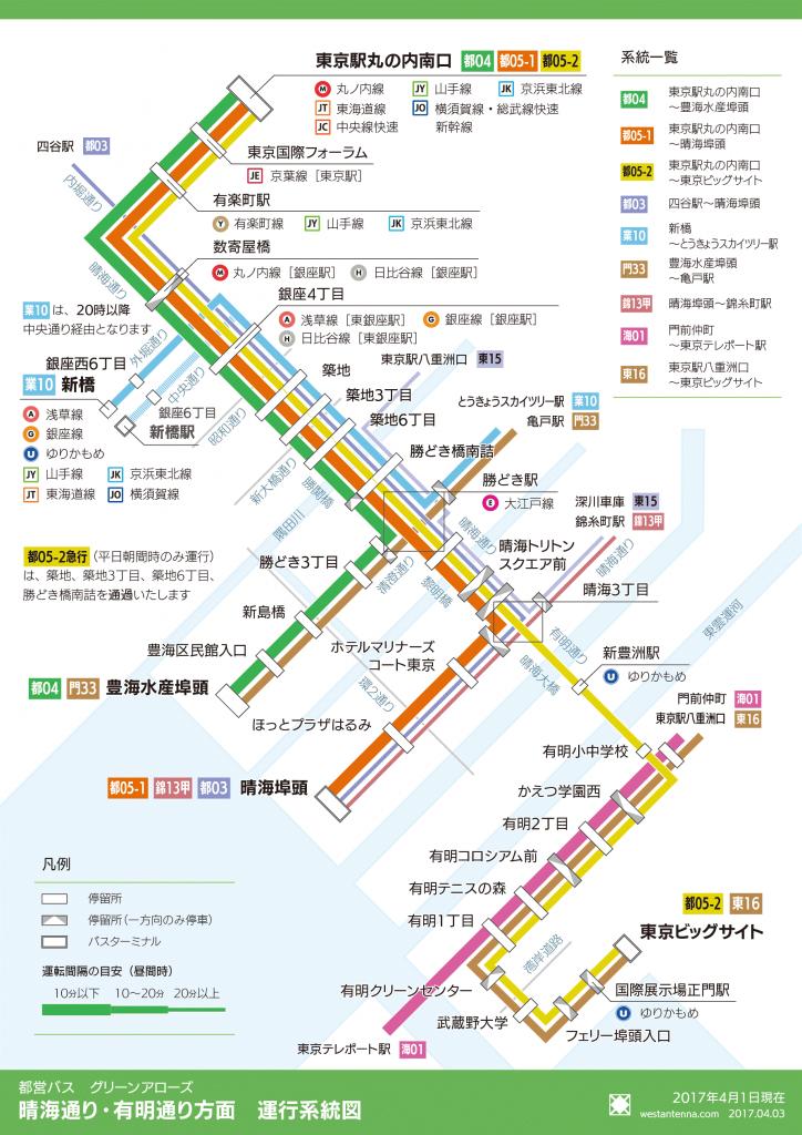 都営バス 晴海通り有明通り方面 運行系統図