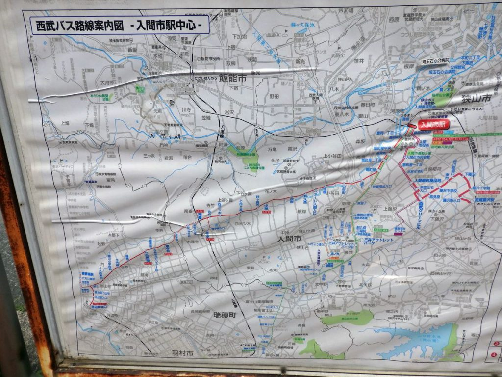 入間から青梅へのバス路線図