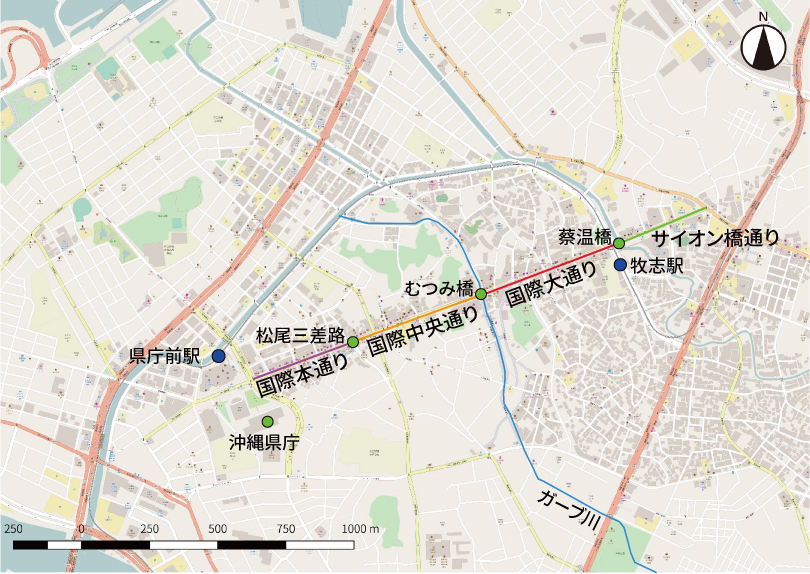 国際通りの商店会の位置関係図