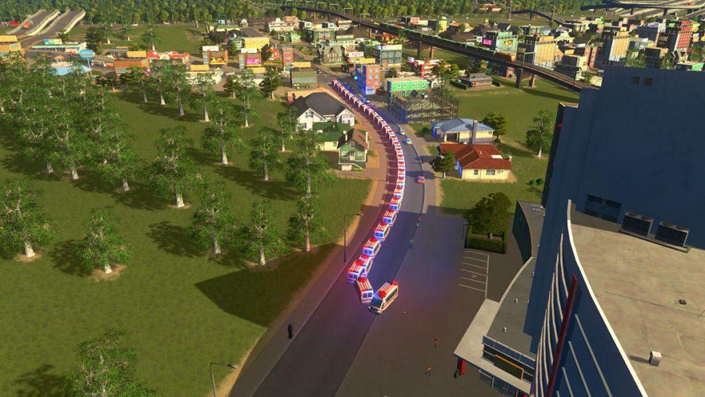 病院から一斉に救急車が出動していく様子(「cities:skylines」より ©Colossal Order/Paradox Interactive )