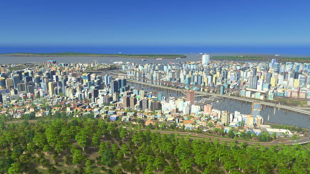 わくせん氏の作ったまちの「野毛山」から見たまちの眺め(「cities:skylines」より ©Colossal Order/Paradox Interactive )