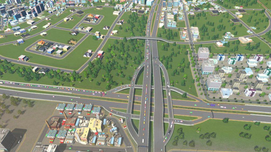 ゲームの中のまちで渋滞する道路
