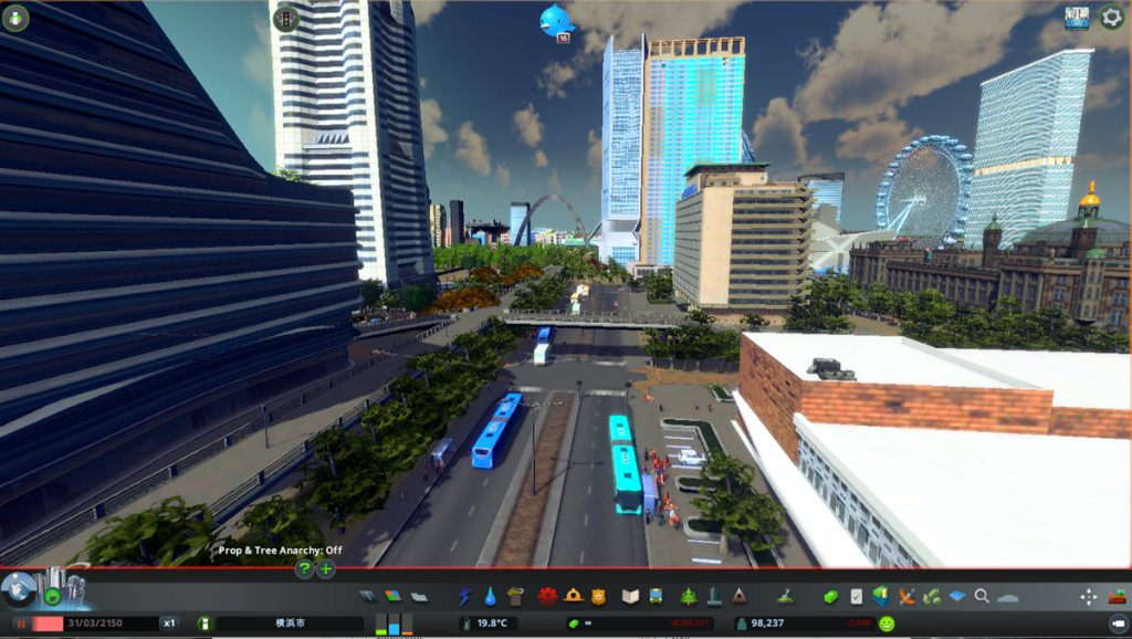 画像下部に停車中のバスがスカニア社モデルの連節バス(「cities:skylines」より ©Colossal Order/Paradox Interactive )