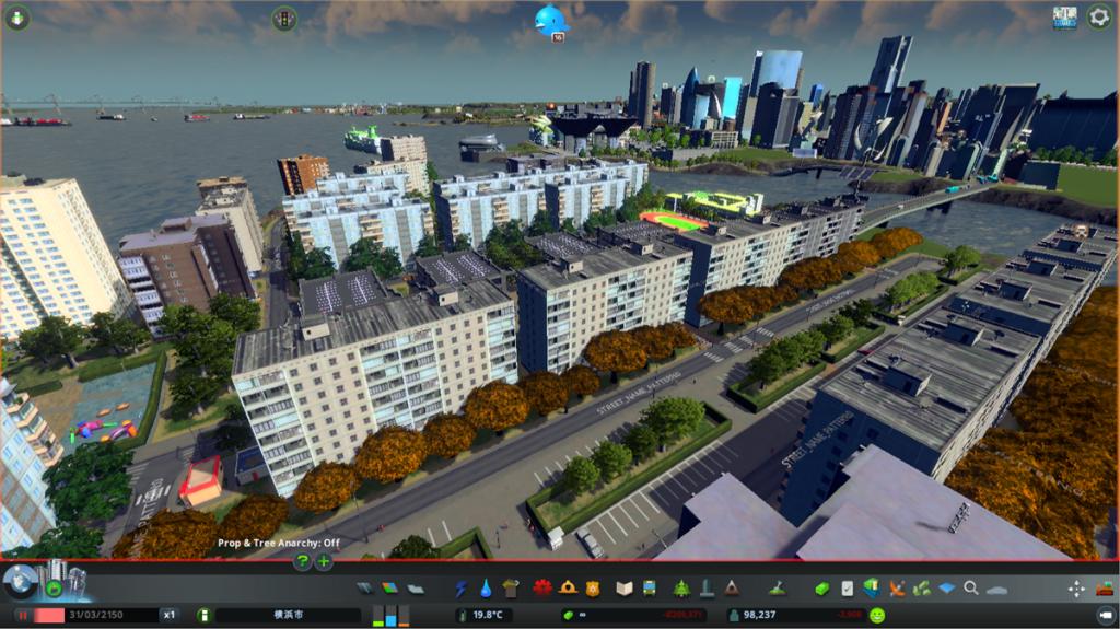 夕霧氏の作った「cities:skylines」のまち  ©Colossal Order/Paradox Interactive
