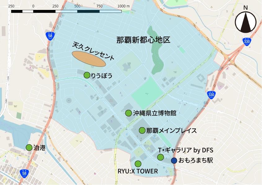 那覇新都心地区にあるスポットの位置関係図