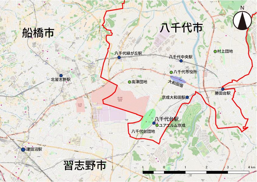 八千代台や団地を中心とした八千代市内の地図