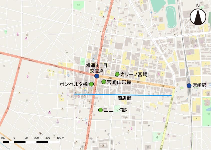 宮崎市中心部の地図