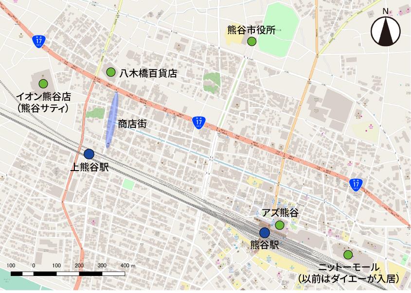 熊谷市中心街の地図