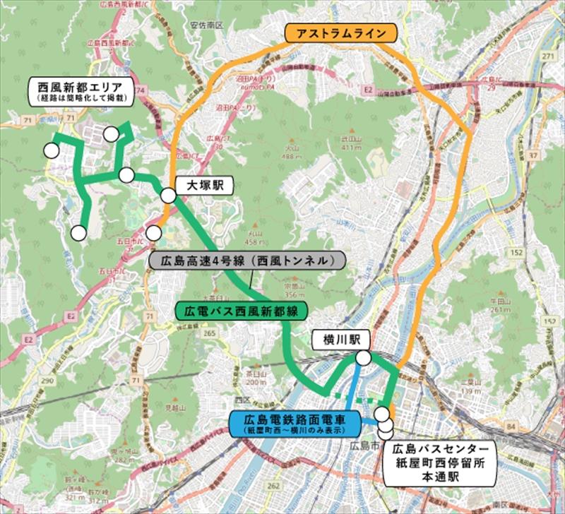 西風新都線と関連路線図 (縮尺:1/75000 OpenStreetMapを元に夕霧もや作成) © OpenStreetMap contributors