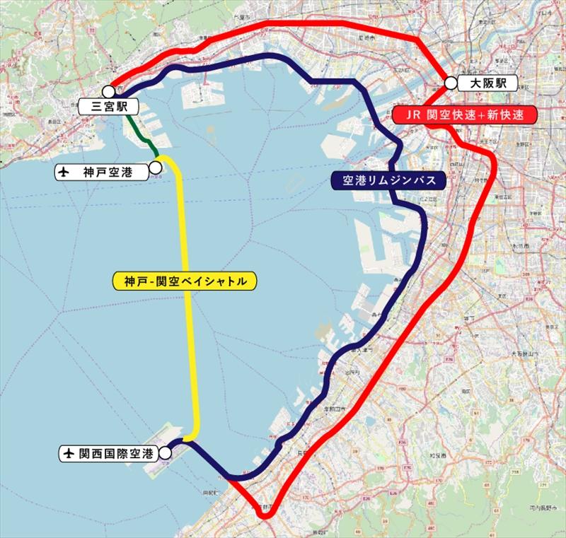 神戸-関空ベイ・シャトルと鉄道・バスの比較(縮尺:1/100000 OpenStreetMapを元に夕霧もや作成) © OpenStreetMap contributors
