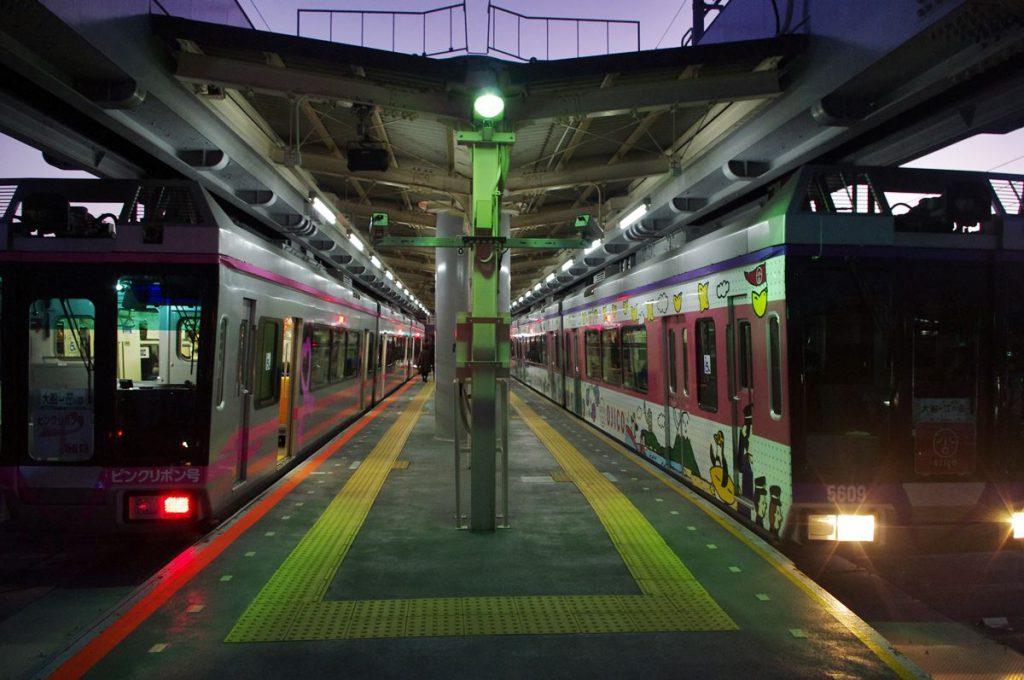 湘南深沢駅ですれ違う湘南モノレール。湘南深沢以外にも富士見町・西鎌倉・目白山下でもすれ違いをほぼ終日行っている。