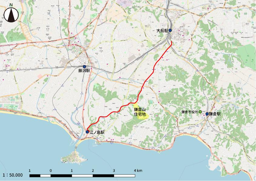 鎌倉山と日本自動車道の周辺地図です。日本自動車道の上には後年になると湘南モノレールが走るようになります