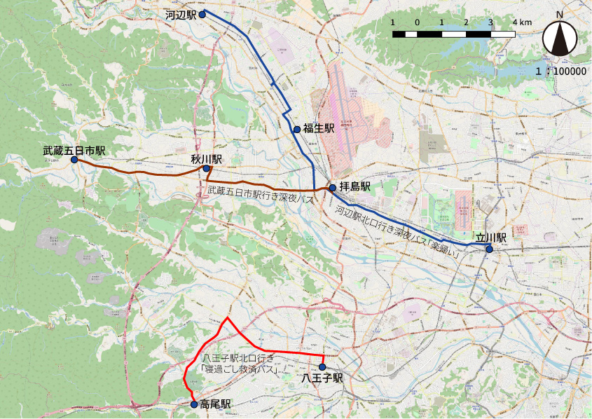 西東京バスでは今回調査した地図内の3路線以外にも、八王子駅24:40発を中心に多くの深夜バスを運行しています。