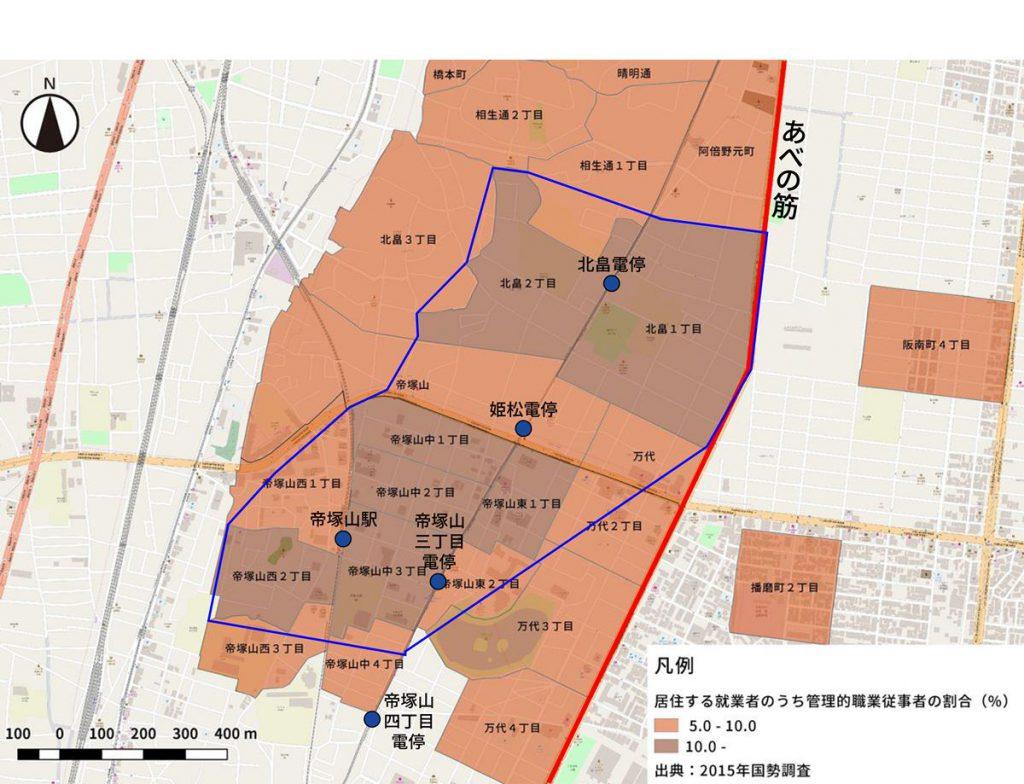 青線で囲まれたエリアが概ね帝塚山エリアです。ここでは管理的職業についている人の割合が高くなっています。そして、割合の高い町丁目の東側があべの筋、西側が上町台地の縁になっていることも特徴的です