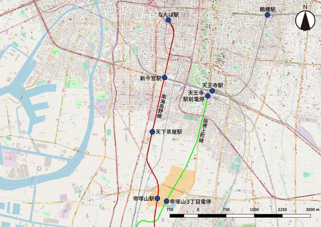 大阪の中心市街地と帝塚山・北畠地域(オレンジ色のエリア)との位置関係