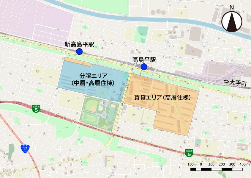 高島平団地における中層・高層住棟の分布