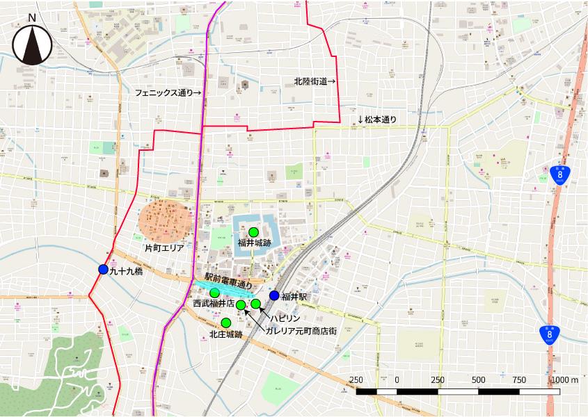 福井市街地の地図。東の端を走るのが国道8号線福井バイパス。また、わかりにくいが、フェニックス通り上を福井鉄道が走る。