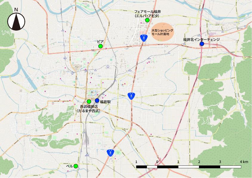 福井市の郊外も含めた地図